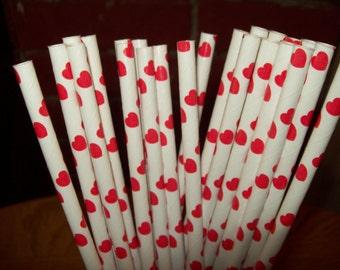 25 rode harten & Witboek drinken rietjes Valentines verjaardag van het huwelijk