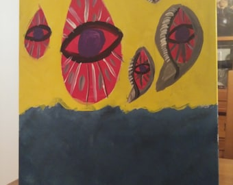 Original Abstract Acrylic painting on 16x20 canvas, third-eye, floating, hoovering, water, ocean