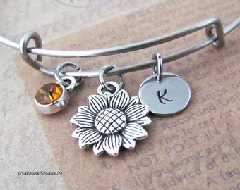 Sunflower Bangle Personalized Hand Stamped Initial Birthstone Antique Silver Sunflower Charm Stainless Steel Expandable Bangle Bracelet