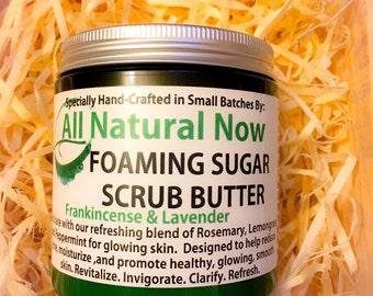Foaming Sugar Scrub/100% Pure & Therapeutic Essential Grade Oils/Anti-Aging/Skin Renewal/Exfoliate/Moisturize