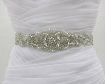 VERONICA - Bridal Beaded Belt, Wedding Rhinestone Sash, Bridal Crystal Belts, Pearl Sashes