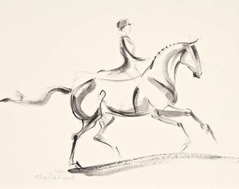"""Horse Art, Painting,Original Watercolor by Anna Noelle Rockwell, """"Uphill Canter 1"""""""