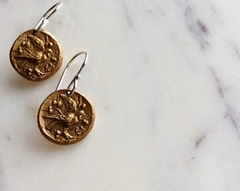 golden bronze bird earrings: woodland jewelry, nature jewelry, gift for her, bronze - sterling silver, fleeting sparrows