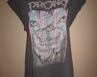 1990 Prong vintage t shirt, rock tee, cotton, distressed, worn