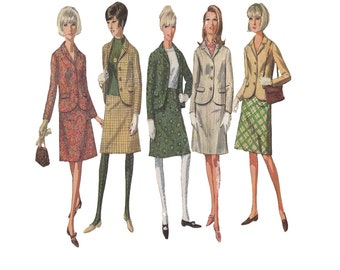 Easy 60s Skirt Suit Size 20 Bust 40 A Line Skirt and Lined Jacket with Set in Sleeves Simplicity Sewing Pattern 6685 How to Sew