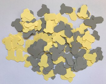 Yellow and Grey Baby Outfit Confetti - Yellow and Grey Baby Shower Decorations - Yellow and Grey Confetti - Neutral Baby Shower Decorations