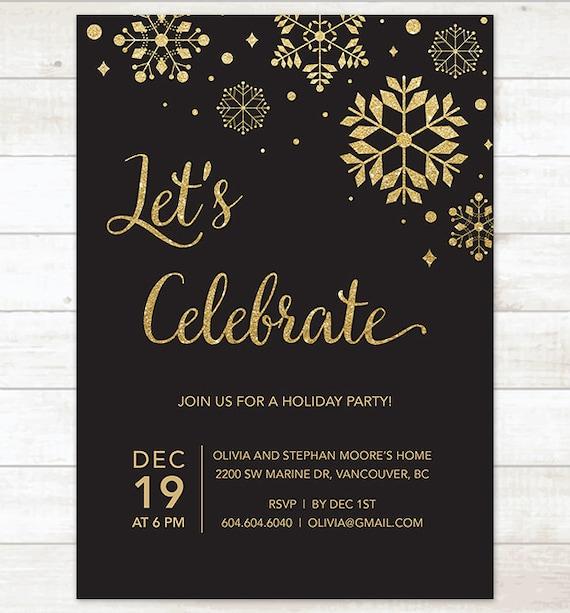 Unique black gold holiday party invitation printable snowflakes black YG72