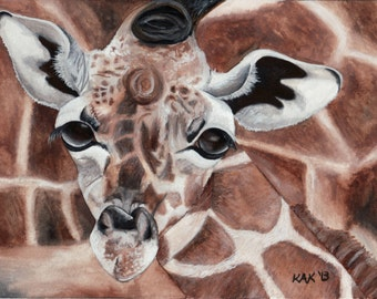 Limited Edition Print of Original Giraffe Watercolor Painting