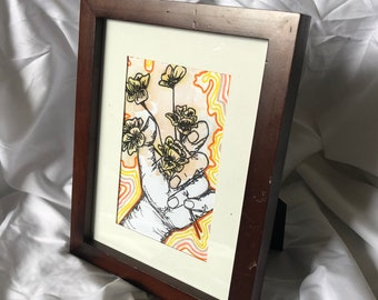 IN YOUR HANDS- yellow watercolor painting