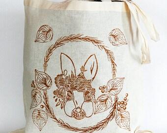 Tote bag - bag made of cotton - rabbit