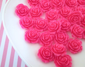 10 Hot Pink Rose Cabochons 20mm