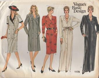80s Button Front Dress Pattern Vogue 1178 Size 8 Uncut