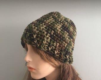 Crochet Beanie Hat - CAMOFLAGE