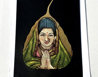 Indian Lady Painting; Oil Painting on Dried Leaf