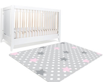 Star Rug, Moon And Stars Nursery, Star Nursery, Pink And Grey Nursery, Polka Dots, Pink And Gray Nursery Decor, Kids Rug, Baby Girl Nursery