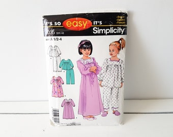 Vintage sewing pattern 'Pajamas and Nightgown' * childrens sewing pattern * toddlers sewing pattern * Simplicity 4035 * easy to sew