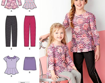 Simplicity Sewing Pattern 1334 Child's and Girls' Top, Mini Skirt and Slim Pants