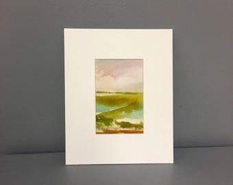 Watercolor Painting- Landscape- Beach- 4 x 6 - Matted to 8 x 10 - Ready to Place in 8 x 10 Frame -Watercolor on Canvas
