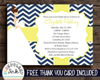 Printable Bridal Shower Invitation - Navy Blue Chevron and Yellow Wedding Shower Invite - Couples Shower Invitation with FREE Thank You Card