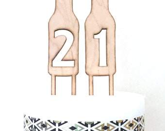 Beer Bottle Number Cake Toppers, 21st Birthday Cake Topper, 40th cake topper, Beer Bottle, Wood cake topper,