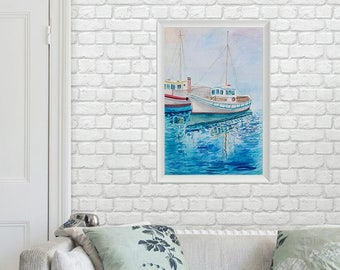 Ship In Blue Sea Watercolor Painting Watercolor Original // 27 × 39 cm