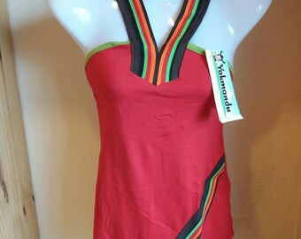 Organic cotton top straps red multicolored