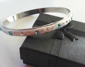 Swarovski crystal clear, turquoise silver plated ceralun bangle bracelet