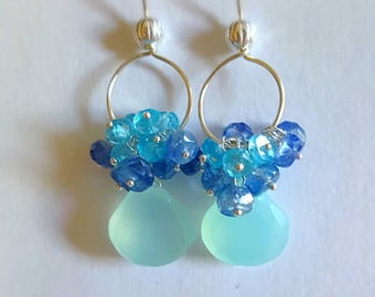Spring Sale 15% Aqua Chalcedony with Kyanite and Apatite Gemstone Cluster Earrings on Sterling Silver Gift for Her