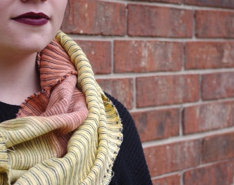 Peach and Lemon Infinity Scarf- Yellow Scarf- Orange Scarf- Infinity Scarf- Striped Scarf- Boho Style Scarf
