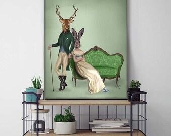 Canvas Art Canvas Print Home decor - Mr Deer & Mrs Rabbit - deer art decor Deer print art Deer canvas art Deer decor Deer canvas print
