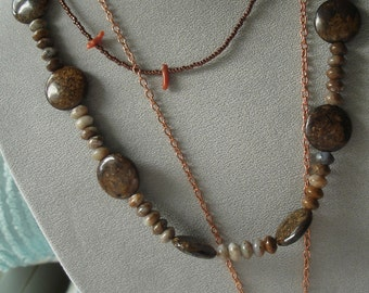 Autumn Trio Necklace with vintage goodies