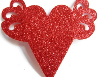 Red Hearts Wedding Favor Tags Die Cuts HANDMADE Scrapbooking Baby Shower Foamy Labels Bridal Shower Wedding Tags Party Tags Hang Tags Gifts