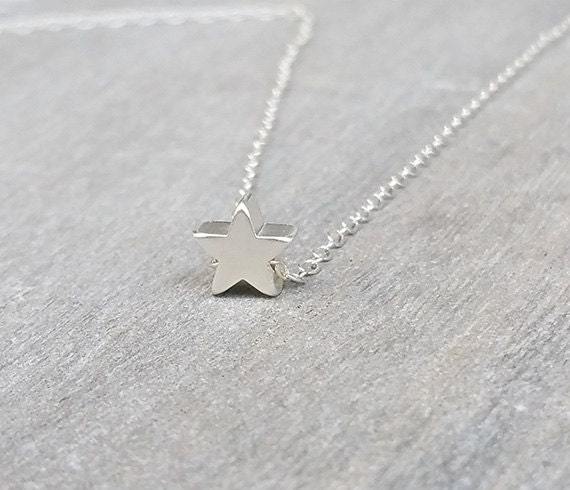 Silver star necklace tiny silver necklace star jewelry aloadofball Image collections