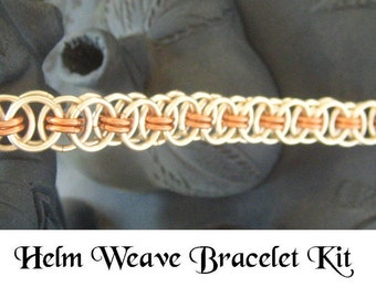 Non Tarnish Silver and Copper Helm Weave Chainmaille  Bracelet KIT  with Instructions
