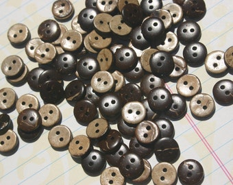 """Tiny Wood Buttons - Small Wooden Button - Little Coconut Wooden Sewing Button - 3/8"""" Wide"""