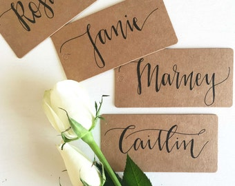 Rustic Place Cards, Calligraphy Place Cards, Wedding Place Cards, Rustic Wedding Decor, Wedding Table Decorations, Place Cards Tags, Wedding