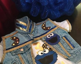 Customized Jean Vest, Custom made tee shirt, tutu