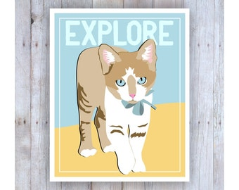 Childrens Wall Art, Classroom Decor, Cat Art, Inspirational Cat Art, Print for Kids, Explore Art Print, Classroom Wall Art, Kitten Art