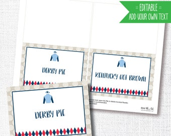 DERBY PARTY food signs, table signs, Kentucky Derby party, add your own text, tent card, instant download, diy, printable file, editable