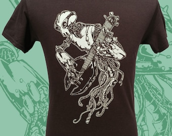 Mens GuitarBOT Tshirt - Robot Rock shirt - Unisex Guitar Tee