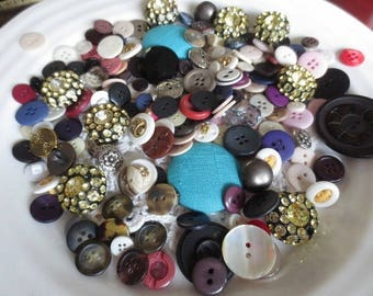 Huge Button Lot Vintage Assortment in Owl Storage Tin Over 1 LB Variety