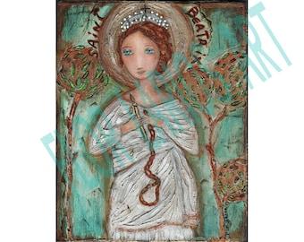 Saint Beatrix - Aceo print mounted on Wood (2.5 x 3.5) Folk Art  by FLOR LARIOS