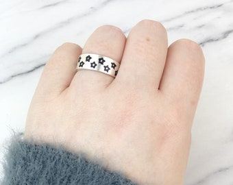 Stars Sterling Silver .925 Ring -  Multi Black Star Celestial Constellation Galaxy Boho Bohemian Friendship Love Thumb Pinky Band Gift