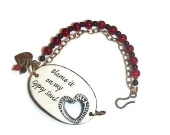 Gypsy Soul Bracelet Ceramic Bracelet Gypsy Soul Heart Bracelet Boho B78