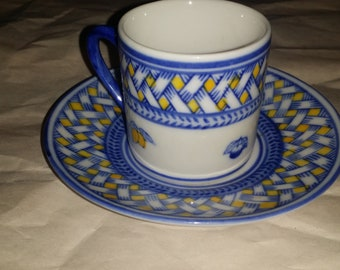 Imertime Blue /Yellow Lattice w/Fruit Demitasse Cup and Saucer
