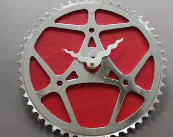 Bicycle Gear Clock - Red Vintage | Bike Clock | Wall Clock | Recycled Bike Parts Clock
