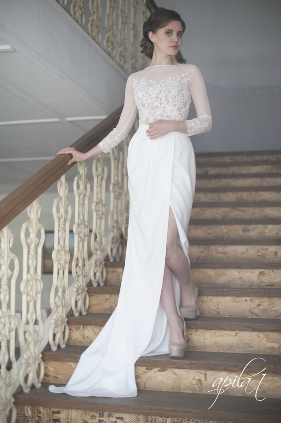 Crepe Wedding Dress White and Nude Bridal Gown L10with long