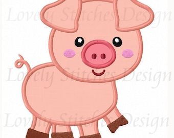 Pig Applique Machine Embroidery Design NO:0256