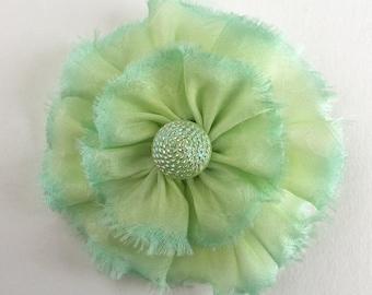 Light Green Frayed Silk Flower Brooch with Vintage Czech Glass Button - Hand Dyed Bias Cut Silk - Handmade in U.S.