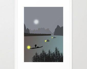 Oriental print-Vietnamese Fishing Boats poster-Fishing in Halong Bay at night-Grey Decorative Art Print-Large Glicee Moon Print-Panorama